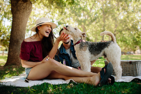 Couple having fun with their pet on picnic