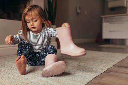 Little girl wearing boots