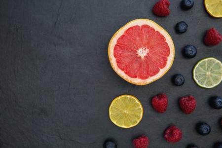 Fruit on dark food background