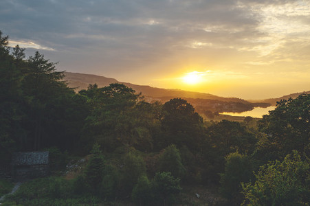 Sunset looking to Llyn Padarn Lake from Dolbadarn Castle Snowdonia National Park in North Wales