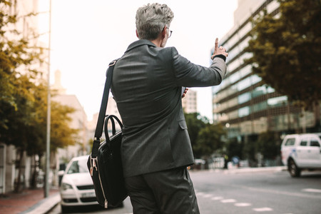 Businessman calling taxi