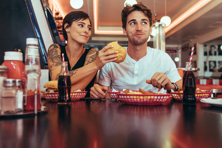 Couple dining at a restaurant