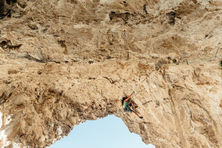 Scenic view of rock climber on el Covachon cave  Teverga  Asturias  Spain