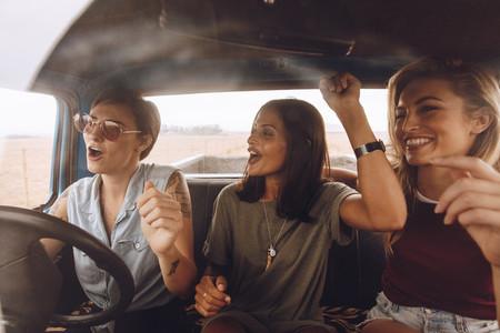 Group of girls having fun in the car