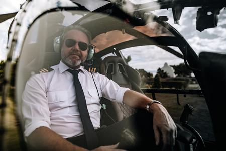 Mature pilot in uniform
