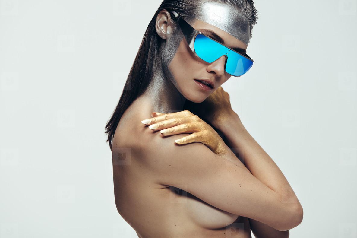 Female model in avant garde look
