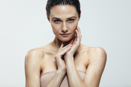 Beauty portrait of woman with natural skin