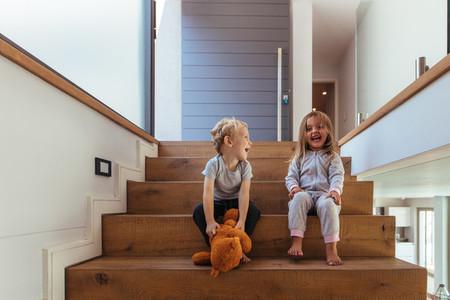 Kids having fun at home