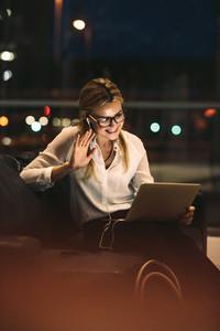 Businesswoman making a video call