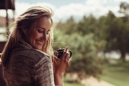 Beautiful woman having morning coffee