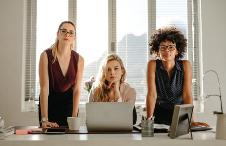 Group of confident businesswomen at office
