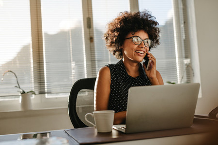 Woman working at startup office