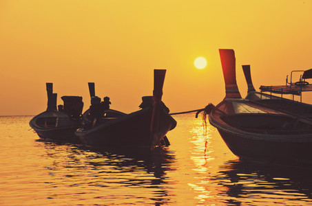 Sunset fishing boats