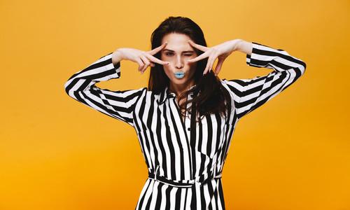 Funky female model in studio