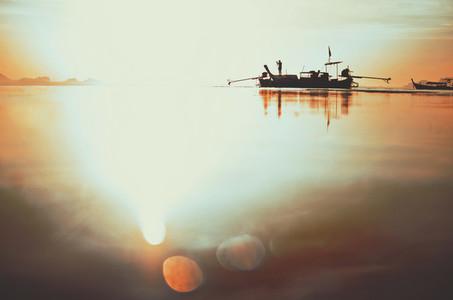 Fishing boat during sunrise