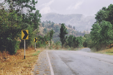 High altitude snaking road