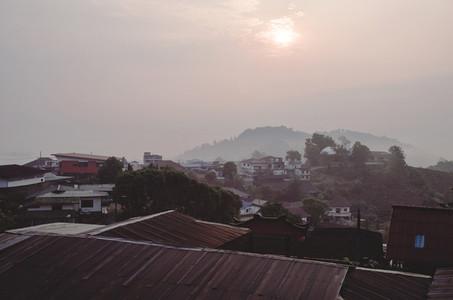 Misty morning at sleepy village