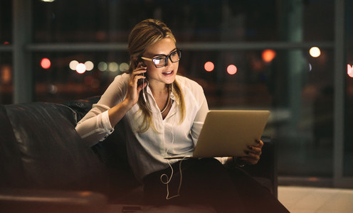 Businesswoman doing video call in office