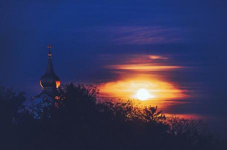 Church under full moon