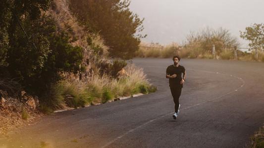 Runner practising for a marathon race
