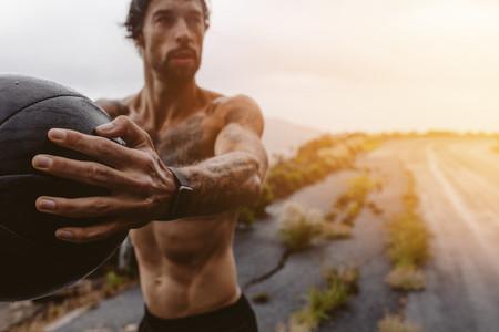 Athlete exercising outdoors on a rainy day