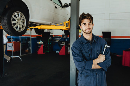 Mechanic in automobile service station