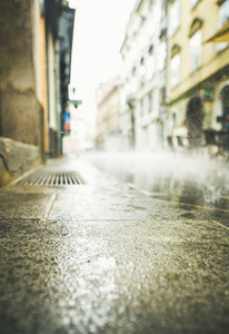 Rainy street of Ljubljana old town center