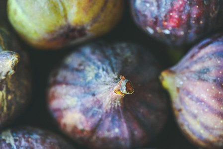 Close up of fresh ripe purple figs top view horizontal composition