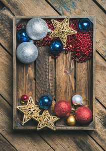 Christmas or New Year holiday decoration background copy space