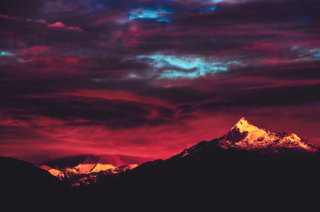 Dramatic sunset over mountains