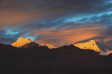 Beautiful mountain sunset