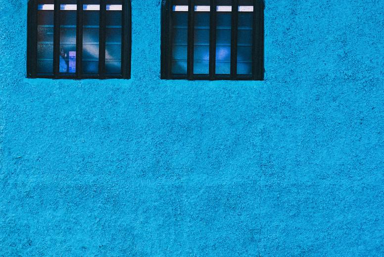 Vibrant Blue Facade