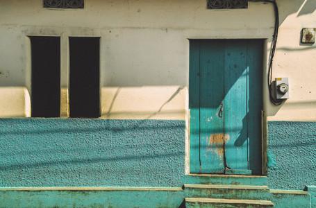 Vibrant blue house facade