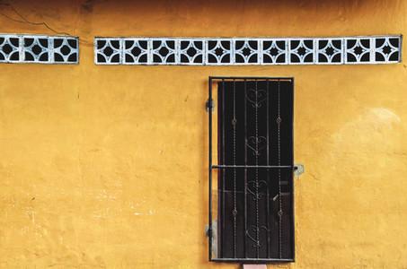 Vibrant yellow house facade