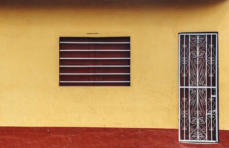 Old yellow house facade
