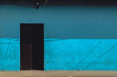 Old blue house facade
