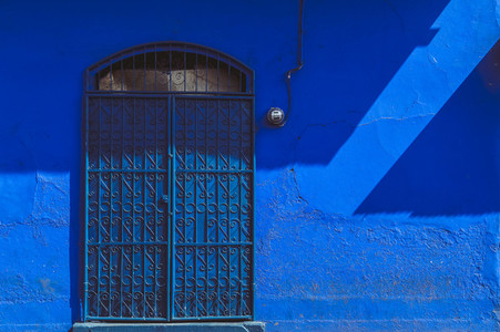 Old vibrant blue house facade