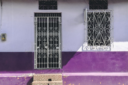 Old vibrant purple house facade