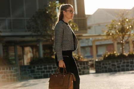 Businesswoman going to office in the morning