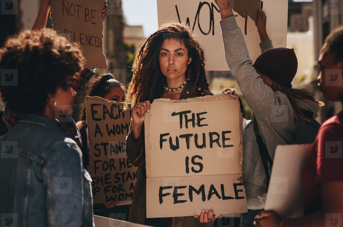 Females protesting for their rights