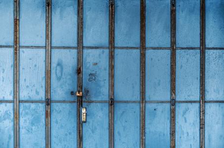 Old Blue Metal Entrance Door