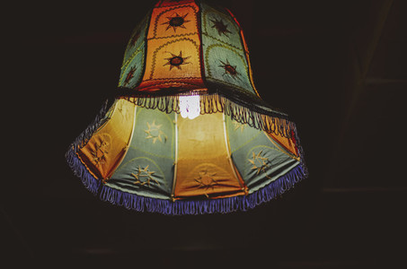Colorful Hanging Lamp At Night