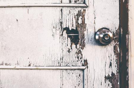 Old White Wooden Door