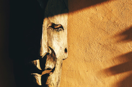 Wooden Mask On The Wall