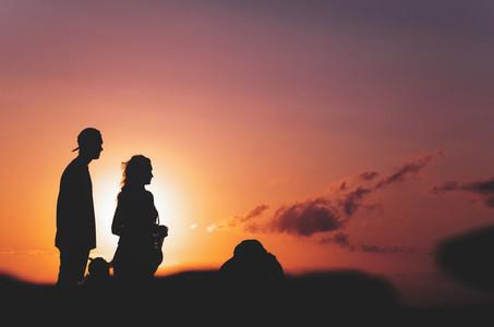 Couple Watching Beautiful Sunset