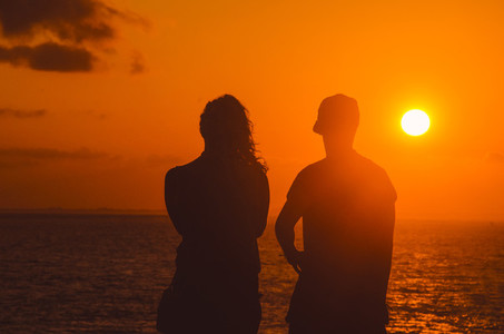 Couple Watching Beautiful Sunset