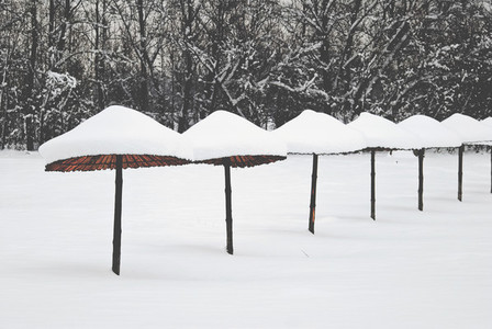 Beach Covered With Snow