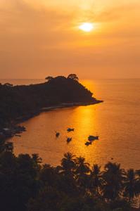 Bay at golden sunset