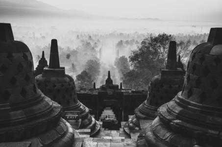 Asian temple at sunrise