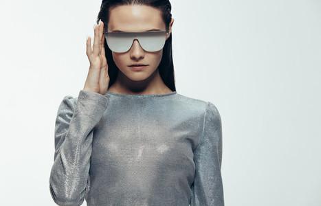 Stylish female model in robotic look